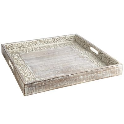 Span Class Hide On Sets Handcrafted From Mango Wood Our Trays Are Whitewashed To Show Off Their Hand Gouged Surface And Square Tray Ottoman Tray Tray Decor