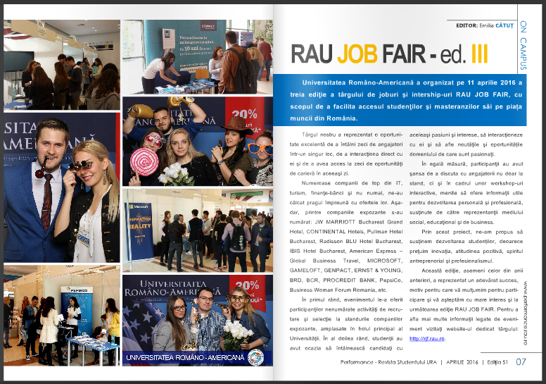 Cu și despre RAU JOB FAIR 2016 în ediția curentă Performance :)  Articol: https://issuu.com/performance-rau/docs/nr-51-apr-2016/6  ‪#‎URA‬ ‪#‎RauJobFair‬ ‪#‎career‬ ‪#‎RevistaPerformance‬