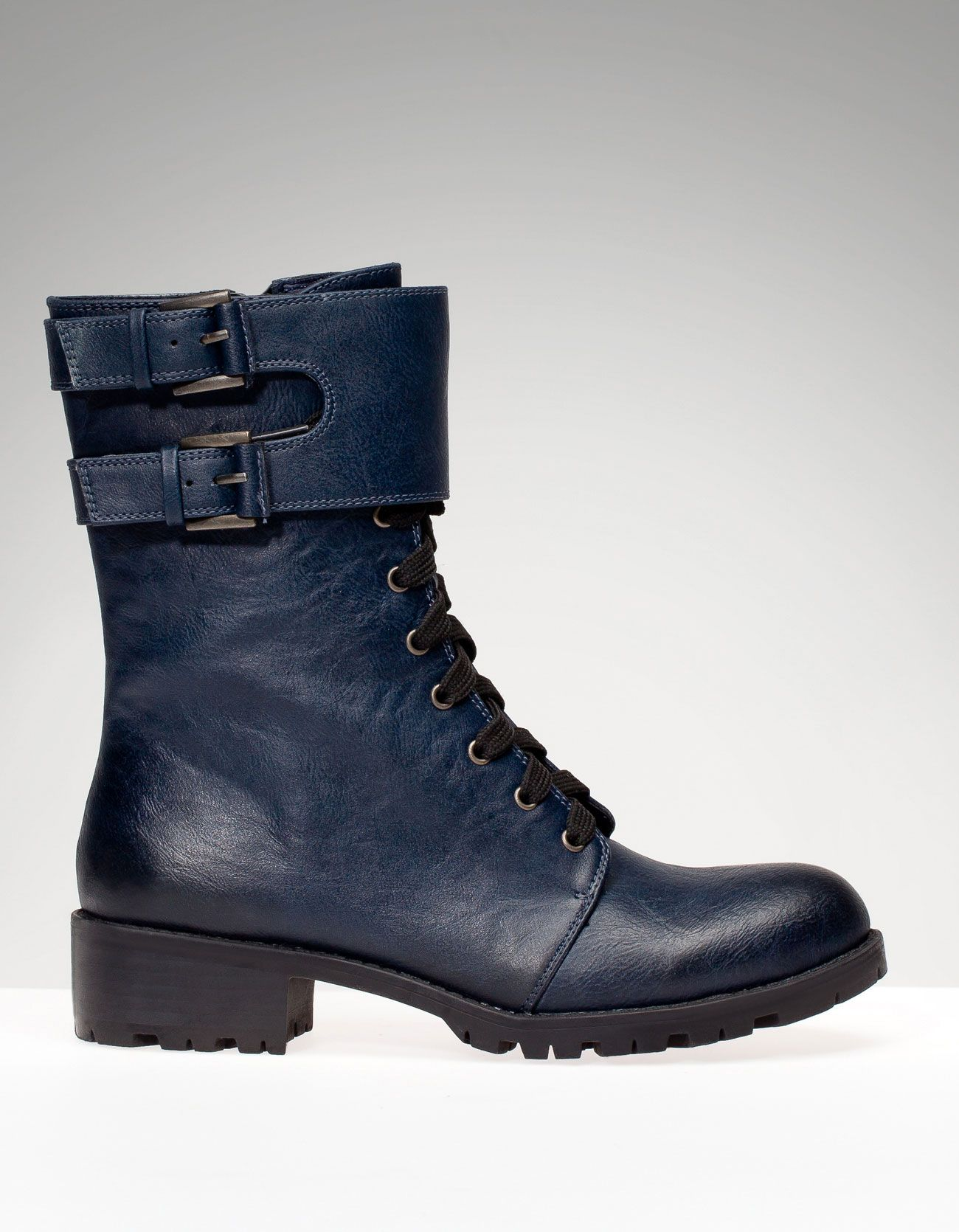 Stradivarius Botin Plano Militar Cordones Boots Blue Boots Fun Heels