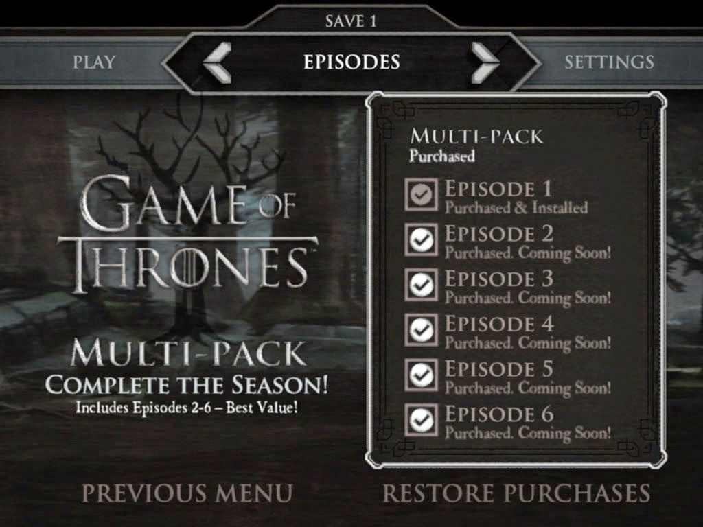 Game Of Thrones A Telltale Games Series V1 00 Gamesave Play Episode Game Of Thrones Telltale Games