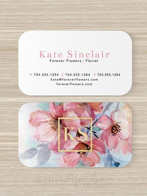 Floral business card faux gold foil florist flowers pink artist florist business card flowers vistaprint 35 x 2 by ynobedesigns colourmoves