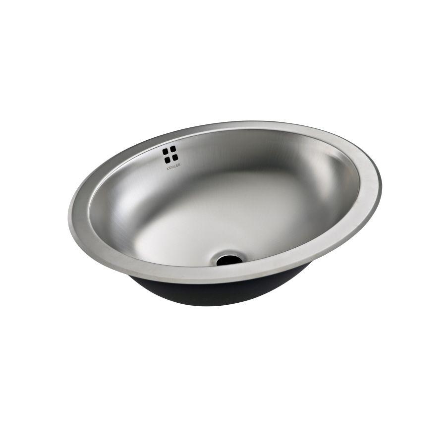 stainleless steel bathroom sink | Shop KOHLER Bachata Stainless Steel  Stainless Steel Oval Bathroom Sink .