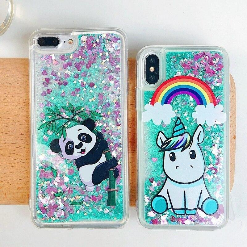 Coque for iPhone 7 Case Cover on for iPhone XS Funda iPhone X 5 5s se 6 6s 7 8 Plus Case Cute Unicorn Liquid Quicksand Phone Case