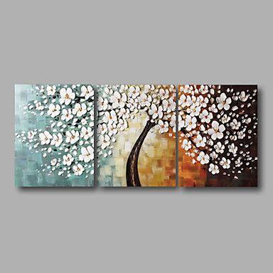 """prêt à accrocher étiré l'huile peinte à la main peinture 60 """"x24"""" trois panneaux art mur de toile de fleurs de fleur blanche de 4674374 2016 à €108.48"""