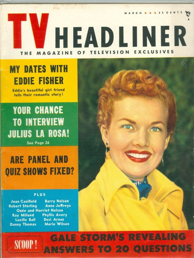 Gale Storm cover TV Headliner magazine 1954 Lucille Ball My Little Margie #lucilleball