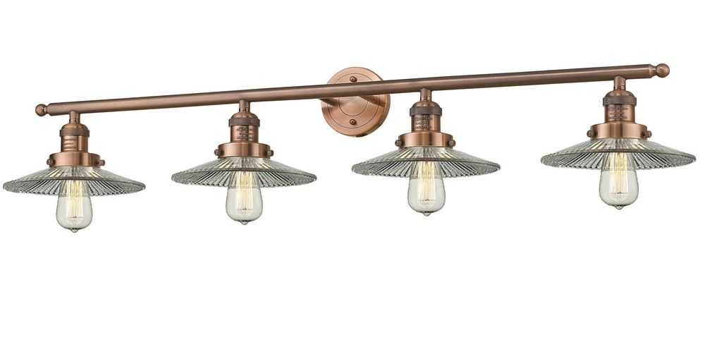 Photo of Four Light Bare Bulb Bathroom Vanity Antique Copper Finish with Halophan Glass