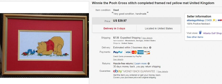 Winnie the Pooh cross stitch $2 at thrift store, sold for $39.97 on eBay