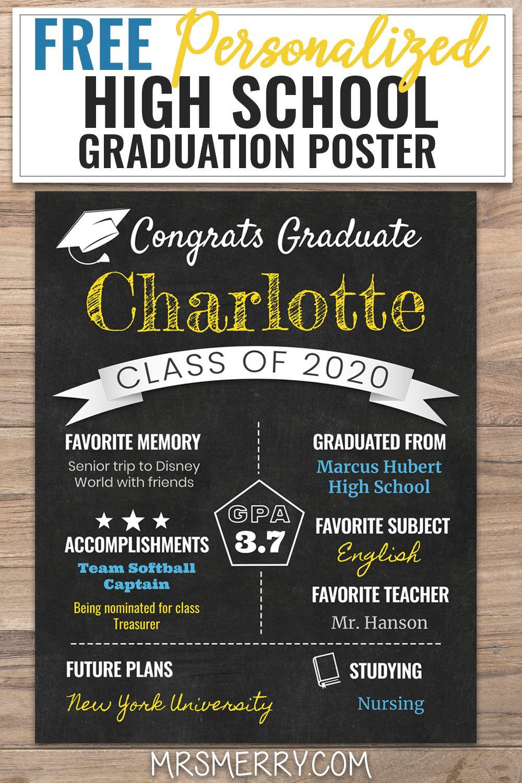 Free Printable Graduation Poster Ideas 2020 Graduation Chalkboard Sign Mrs Merry In 2020 Graduation Chalkboard Graduation Poster High School Graduation