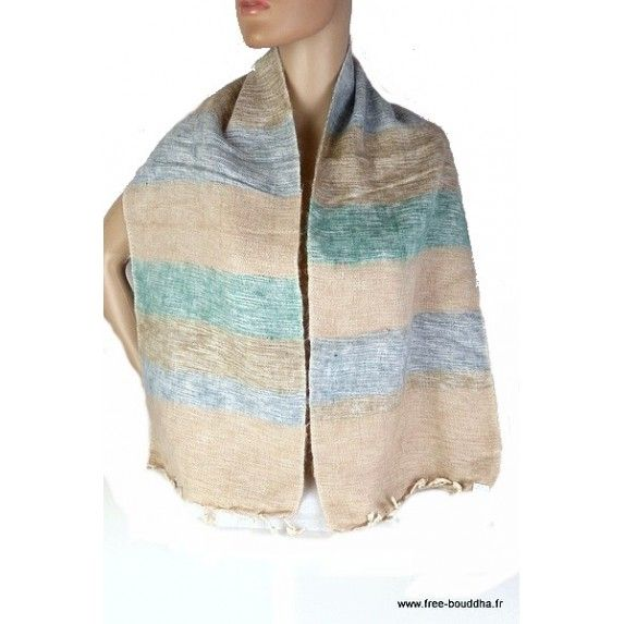 b40546b415a Echarpe laine de yack rayures beige bleu  echarpe  châle  laine   echarpelaine