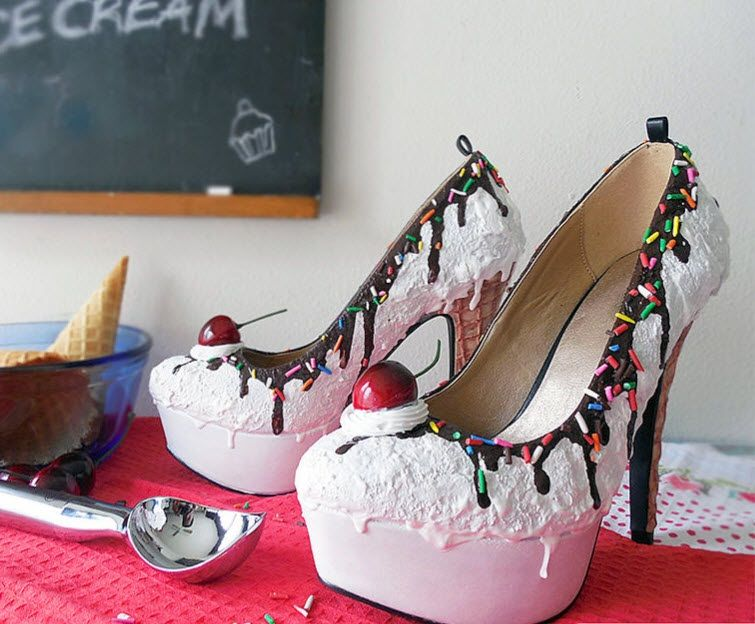 f7646b2bae7d96 Fancy high heels made to look like cake by Chris Campbell
