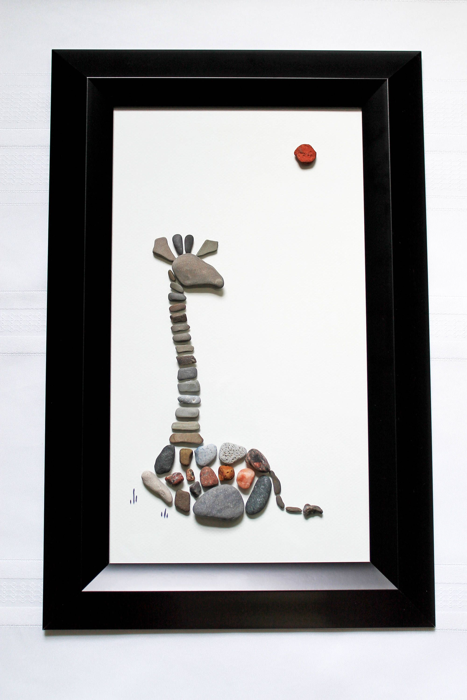 Resting Giraffe - Pebble Art - 11.5 x 17.5 Wall Art | Rocks ...