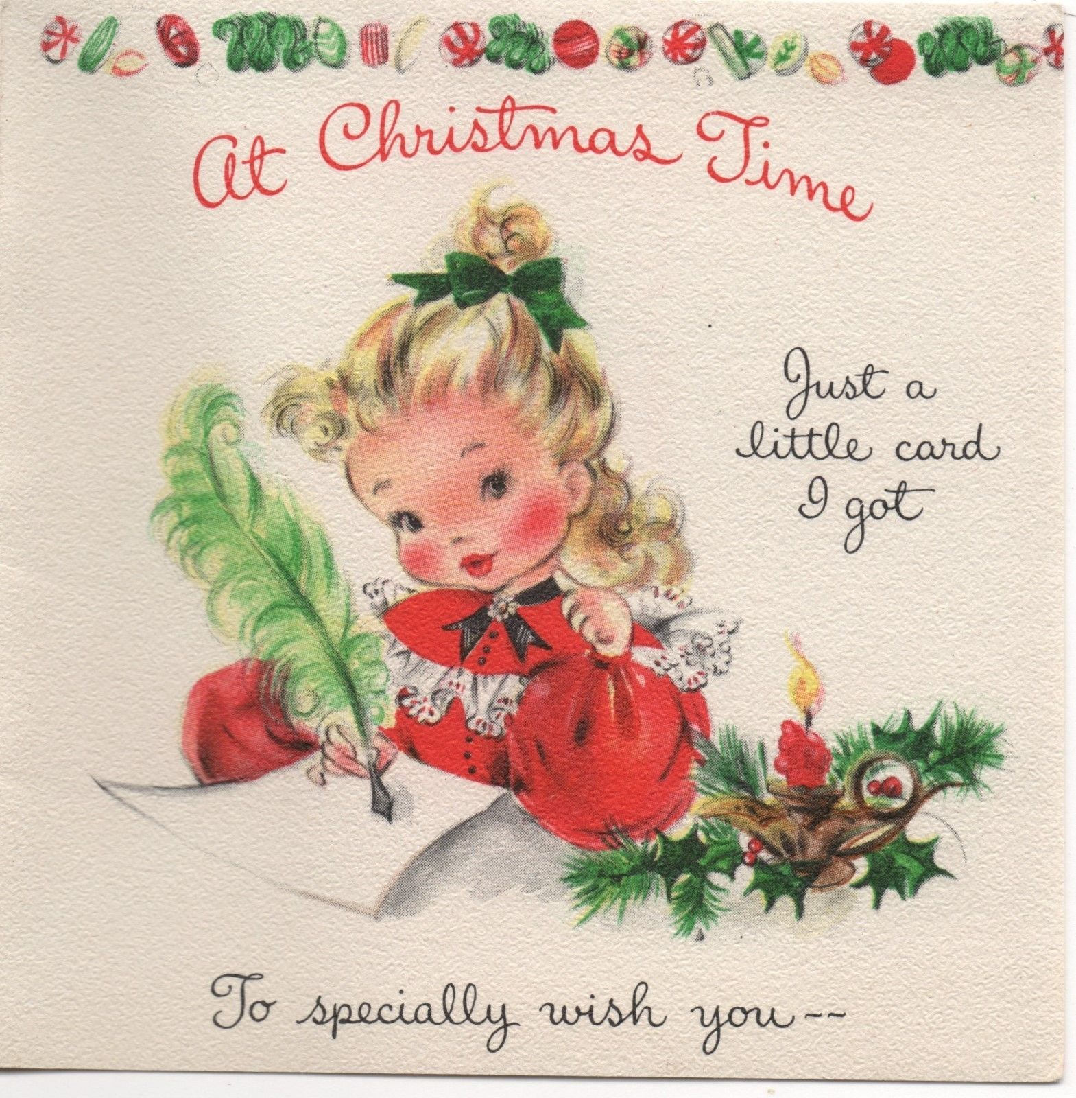 Hallmark pretty lady girl dress candy cane letter vtg christmas hallmark pretty lady girl dress candy cane letter vtg christmas greeting card kristyandbryce Image collections