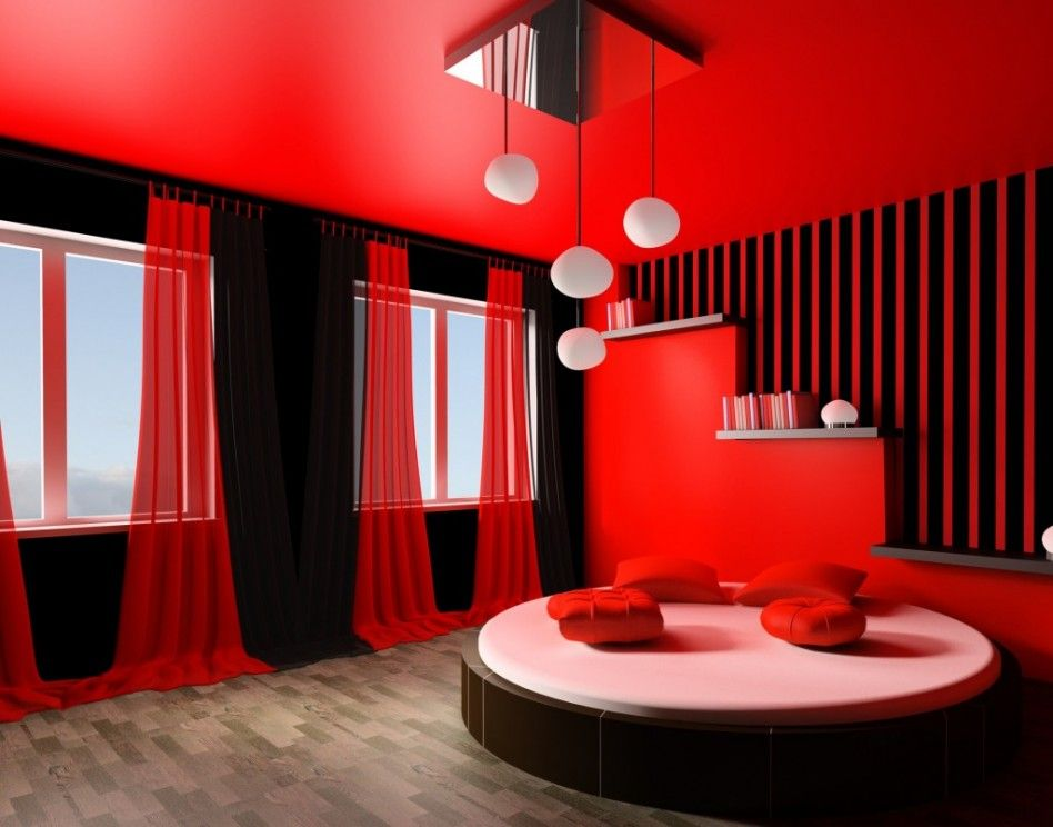 Fancy Modern and Colorful Bedroom Design Ideas, Bedroom, Cool White Candelier and Round Bed with Red Wall also Pillows