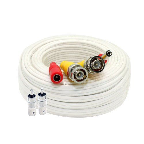 2 PACK PREMIUM 60Ft BNC EXTENSION CABLES FIT Q-SEE SYSTEMS WHITE