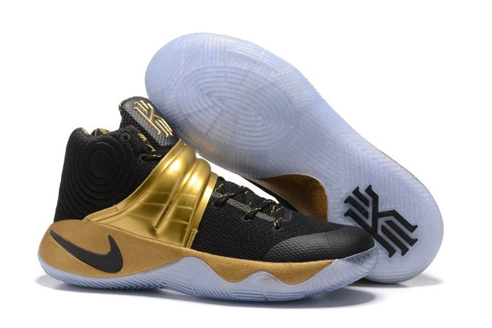 the latest b4373 9e8b6 Nike Kyrie 2 Limited Edition Black 24kt Gold tone Handcrafted Sneakers Drew  League 843253-995 Mens Shoes