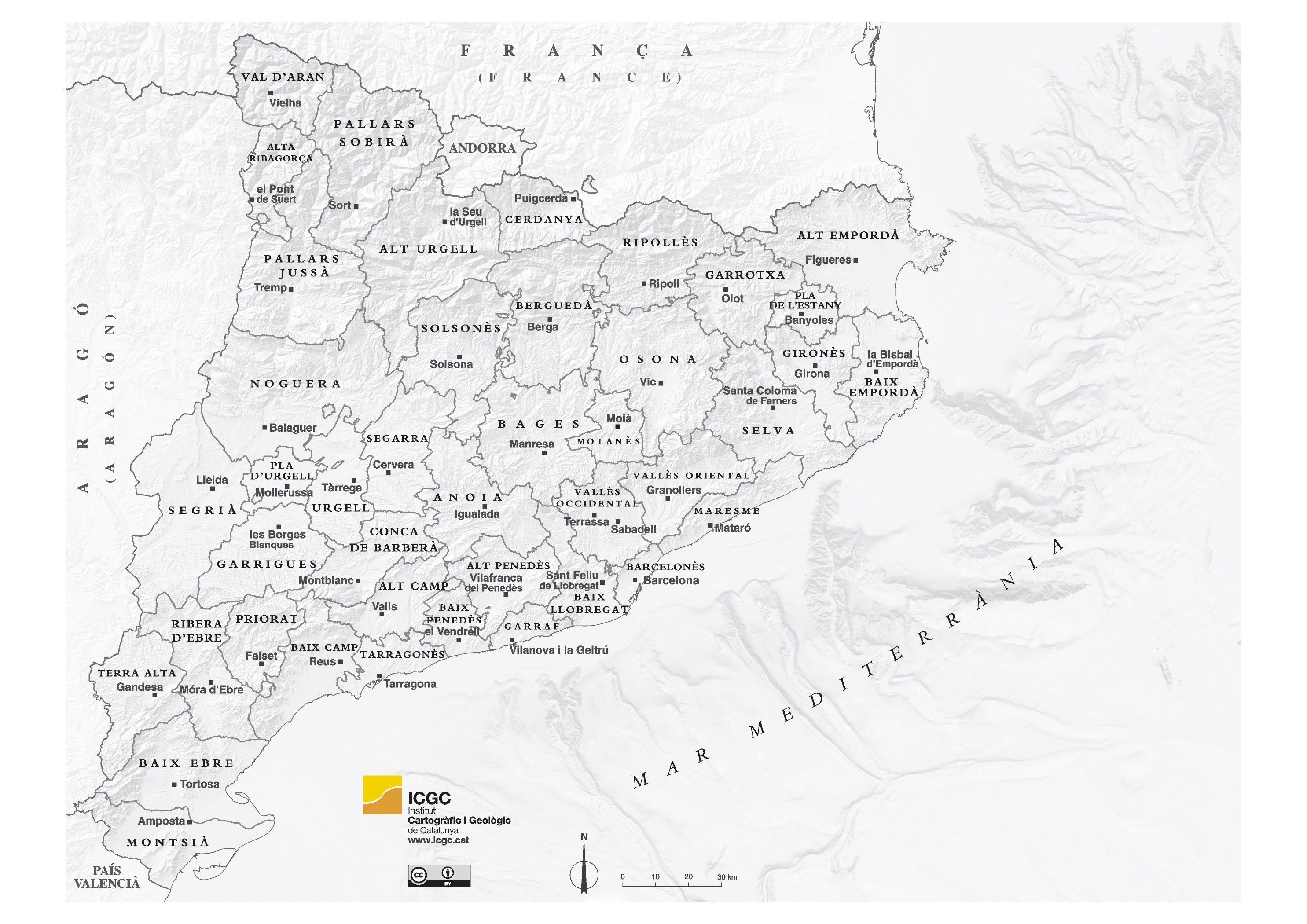 Mapa Comarcal De Catalunya Amb Els Noms De Les Capitals De Cada Comarca Mapas Emporda