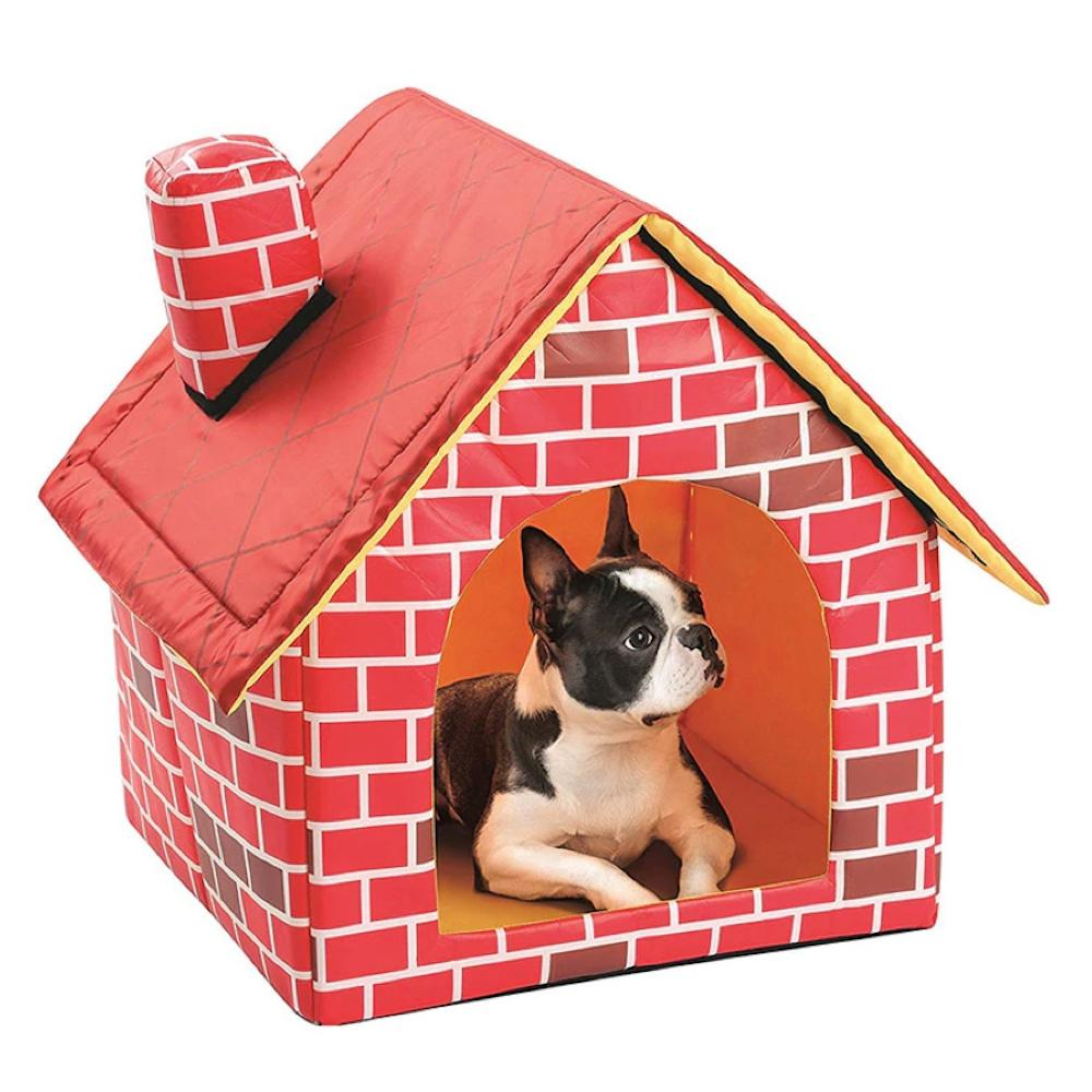 Soft Foldable Indoor Red Dog House With Mat For Small Dogs Warm
