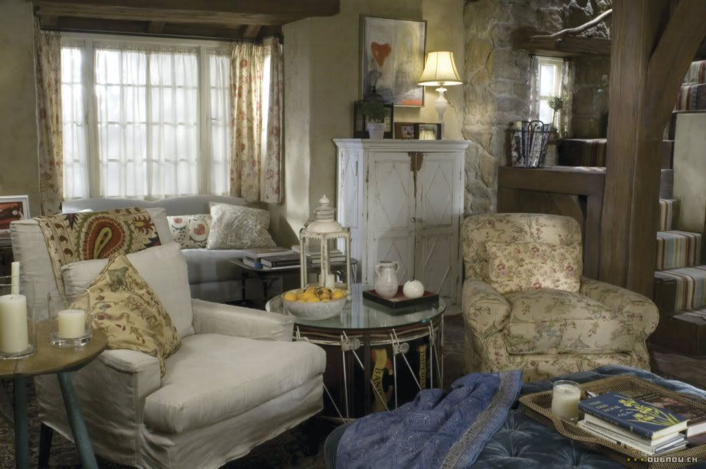 "English Cottage Living Room rosehill cottage"" - 'the holiday' film set; shere, surrey, england"