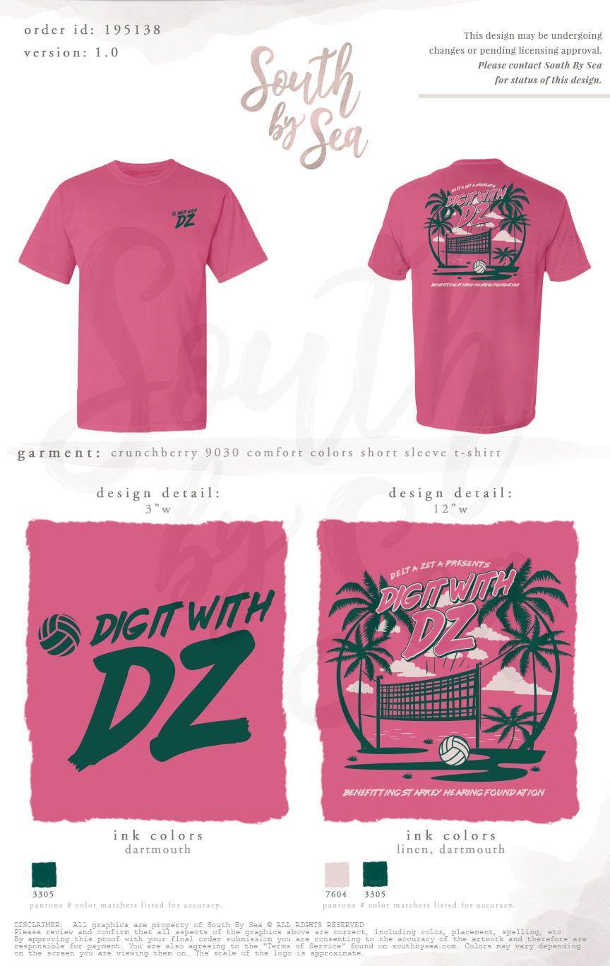 Delta Zeta Dz Philanthropy Volleyball Design South By Sea Greek T Shirts Custom Greek Apparel Delta Zeta Shirts Philanthropy Shirts Fraternity Shirts