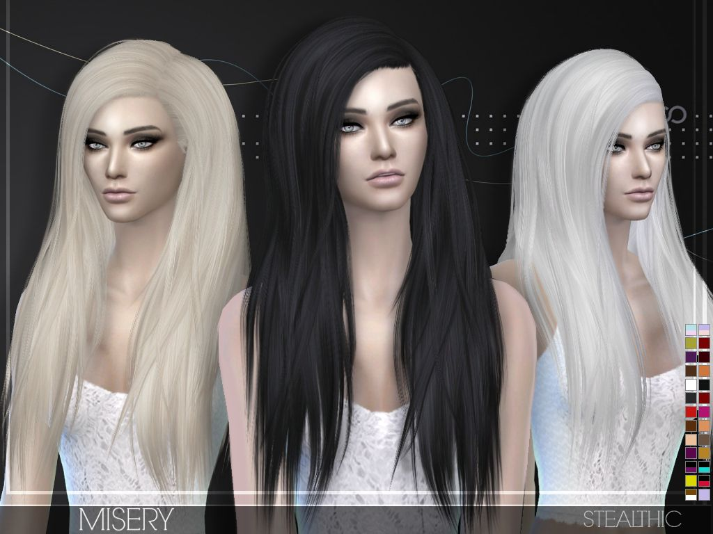 The sims 4 hairstyles cc - Stealthic Misery Hairstyle Sims 4 Hairs Http Sims4hairs Com