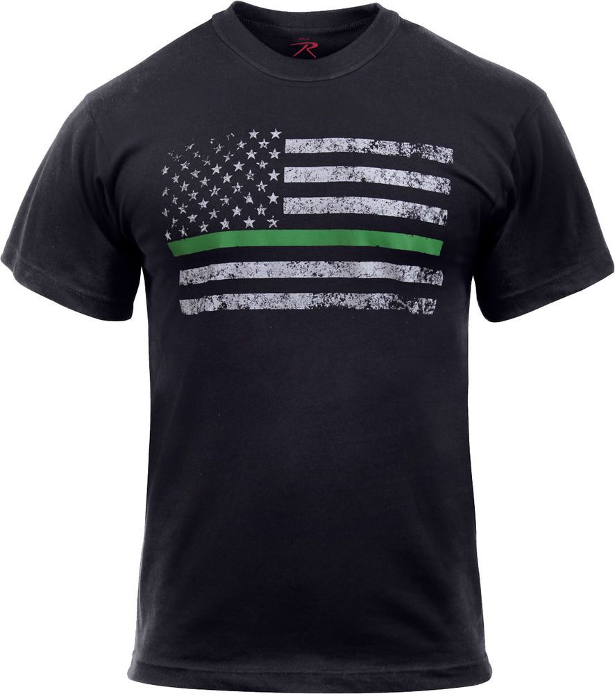 Black Thin Green Line Distressed US American Flag Support Federal Agents T- Shirt  Rothco  TShirt 23d26828251