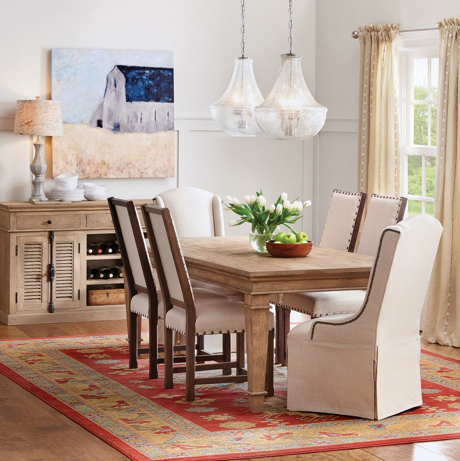Sideboard Gorgeous Upholstered Chairs Substantial Dining Table