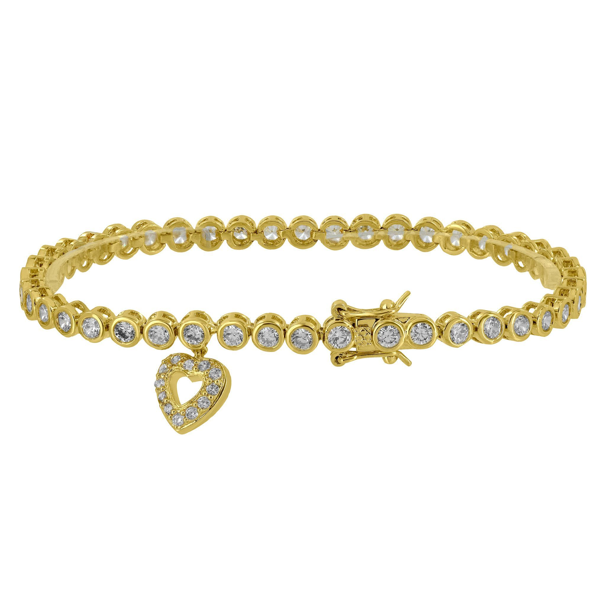 bangles bracelet gold bangle round with links charm yellow padlock heart bracelets fancy