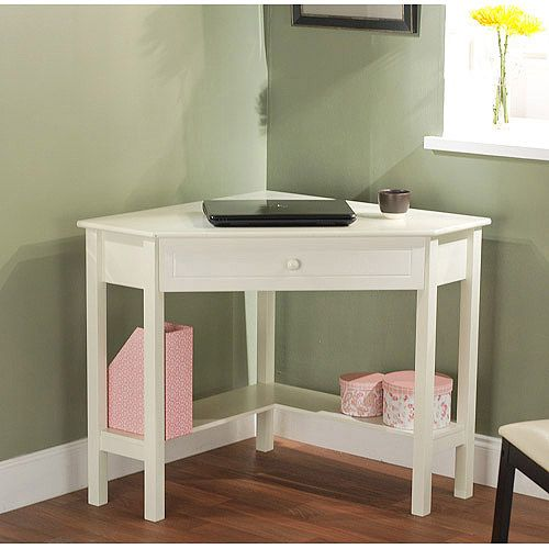 white corner makeup vanity. Antique White Corner Writing Desk  Multiple Finishes Lower Shelves Are Great for Books or Knickknacks Walmart com perfect a small space