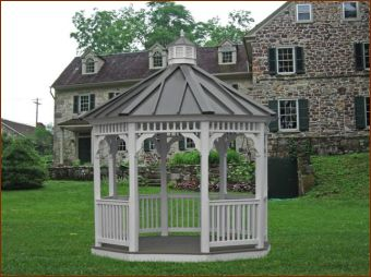 Gazebo Roofs | ... Gazebo In Vinyl With Standing Seam Style Charcoal Gray  Metal