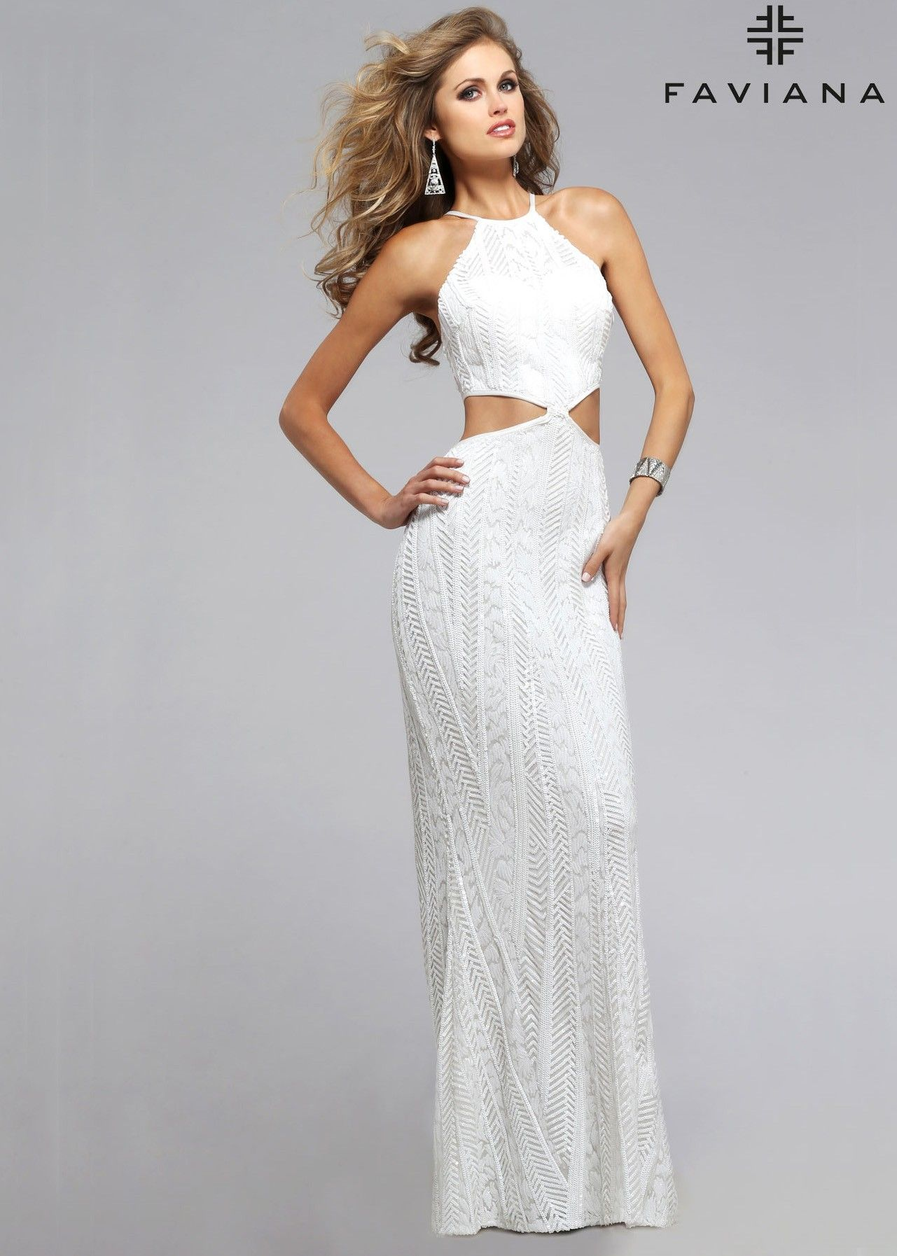 Faviana s sequin evening gown white patterns sequins and prom