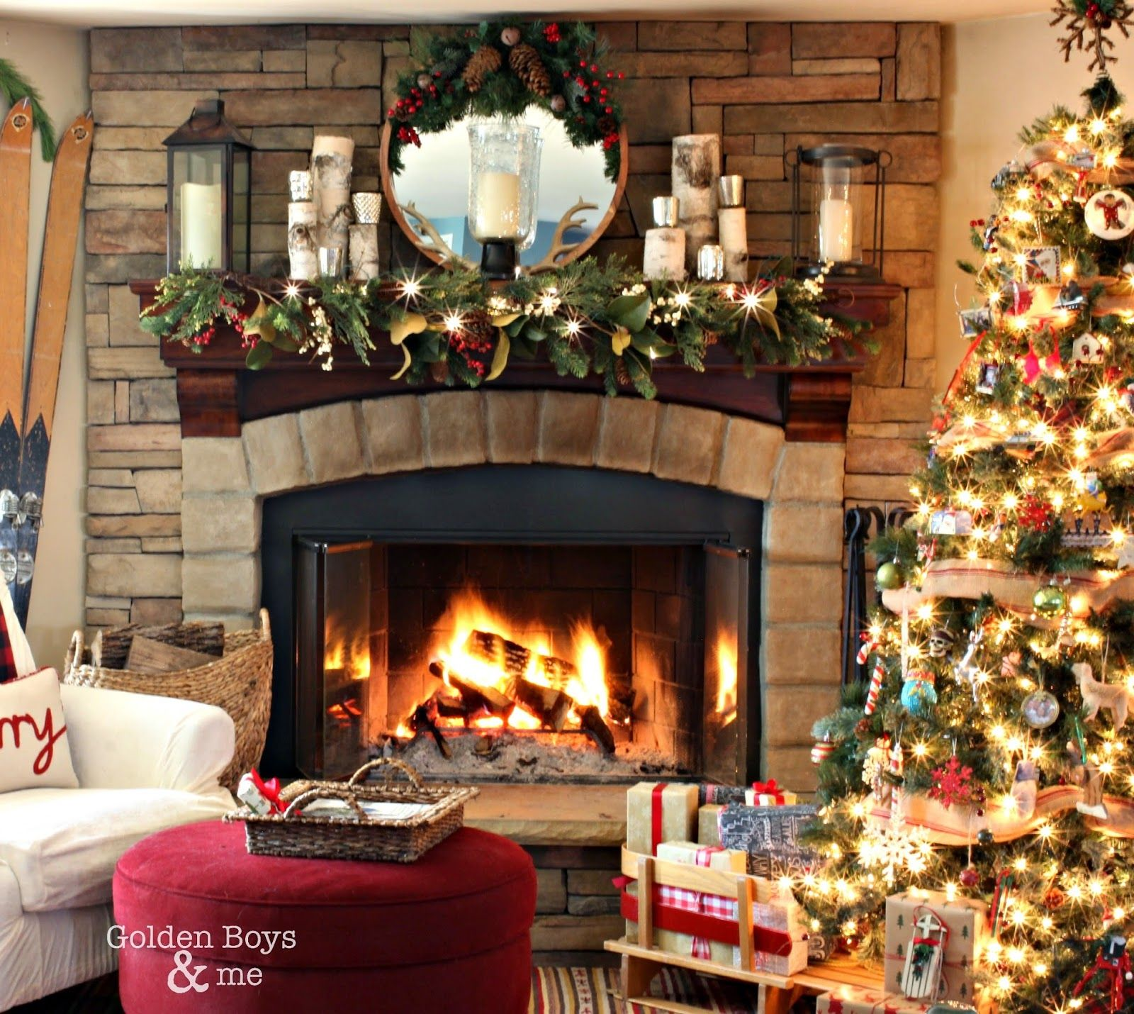Rustic Christmas Mantel Corner Stone Fireplace Lodge