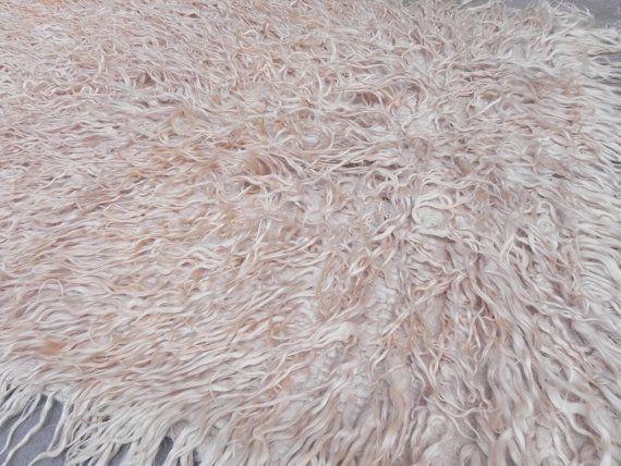 Vintage Turkish Tulu Rug Shag Lustrous Goat Wool Pile