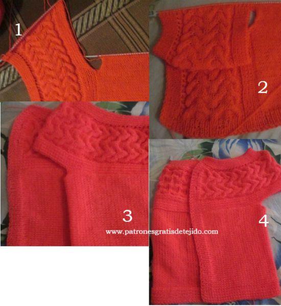 Cómo tejer chaleco con canesú de trenza paso a paso | dos aagujas ...