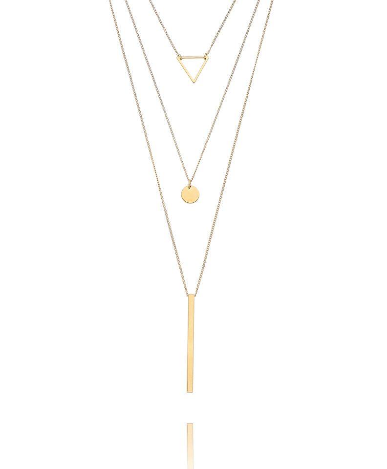 colar triplo minimalista geometrico dourado semijoias. colar triplo  minimalista geometrico dourado semijoias Jóias ... c252ee51ea