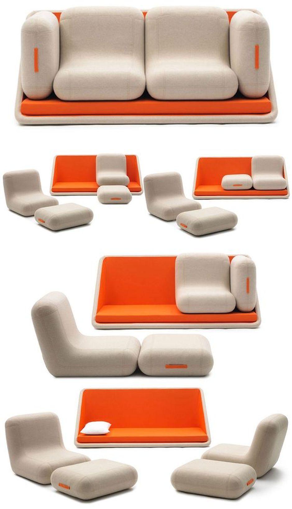 Cool modular and convertible sofa for small living room for Disenos de modulares para living