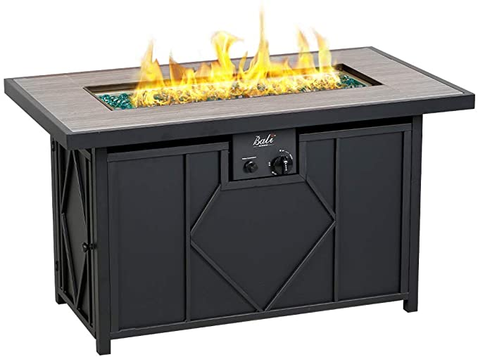 Photo of Amazon.com: BALI OUTDOORS Fire Pit Propane Gas FirePit Table Rectangular Tableto…
