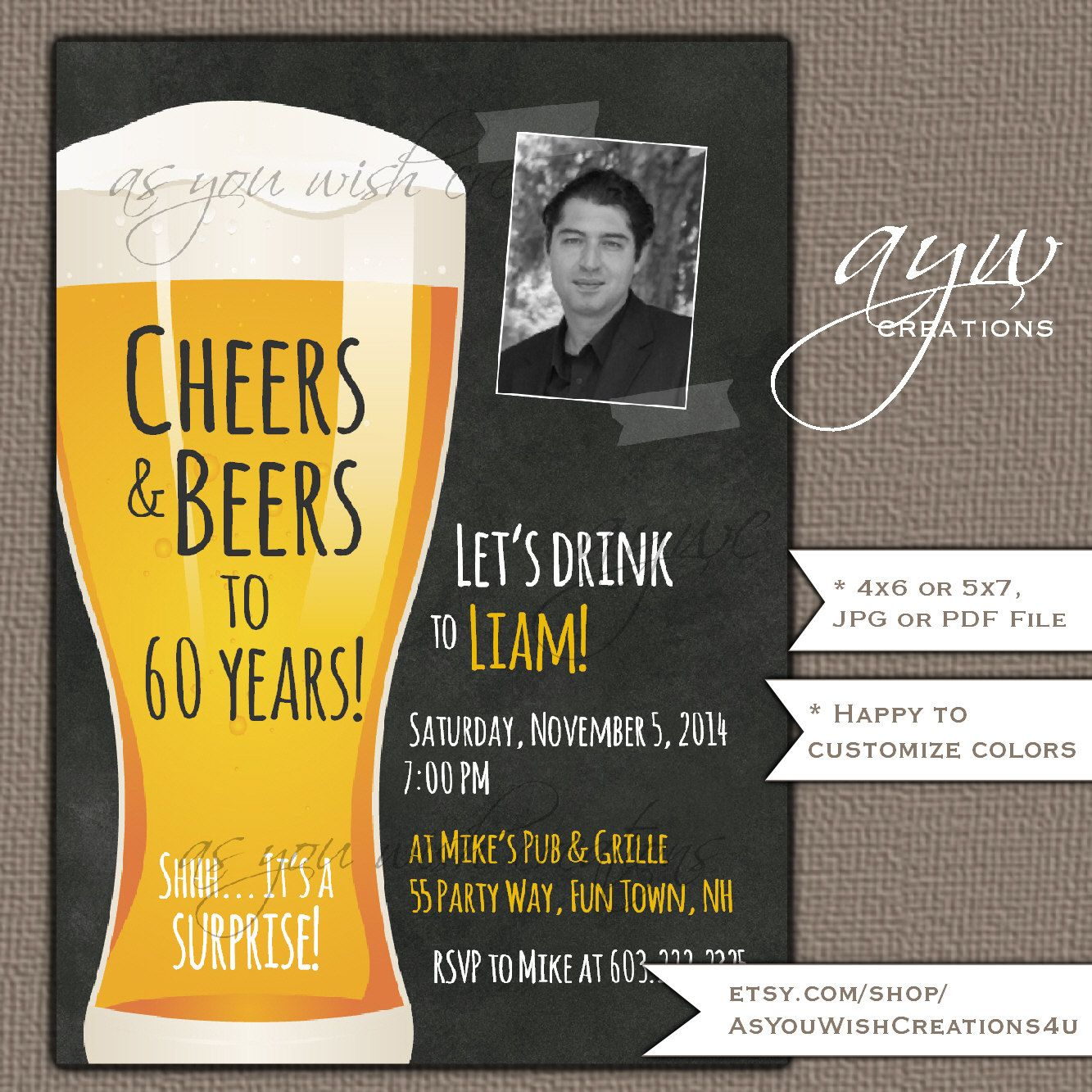 40th Birthday Invitation Man Cheers and Beers Birthday Party ...