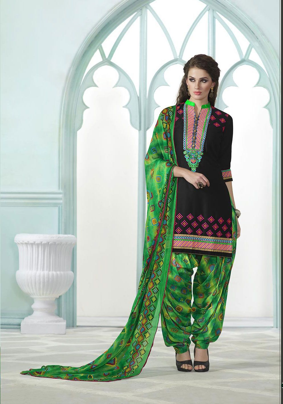 0cfef6cd60 #Black And #Green #Cotton Embroidered #Patiala #Suit #nikvik #usa #designer  #australia #canada #freeshipping #dress #suits