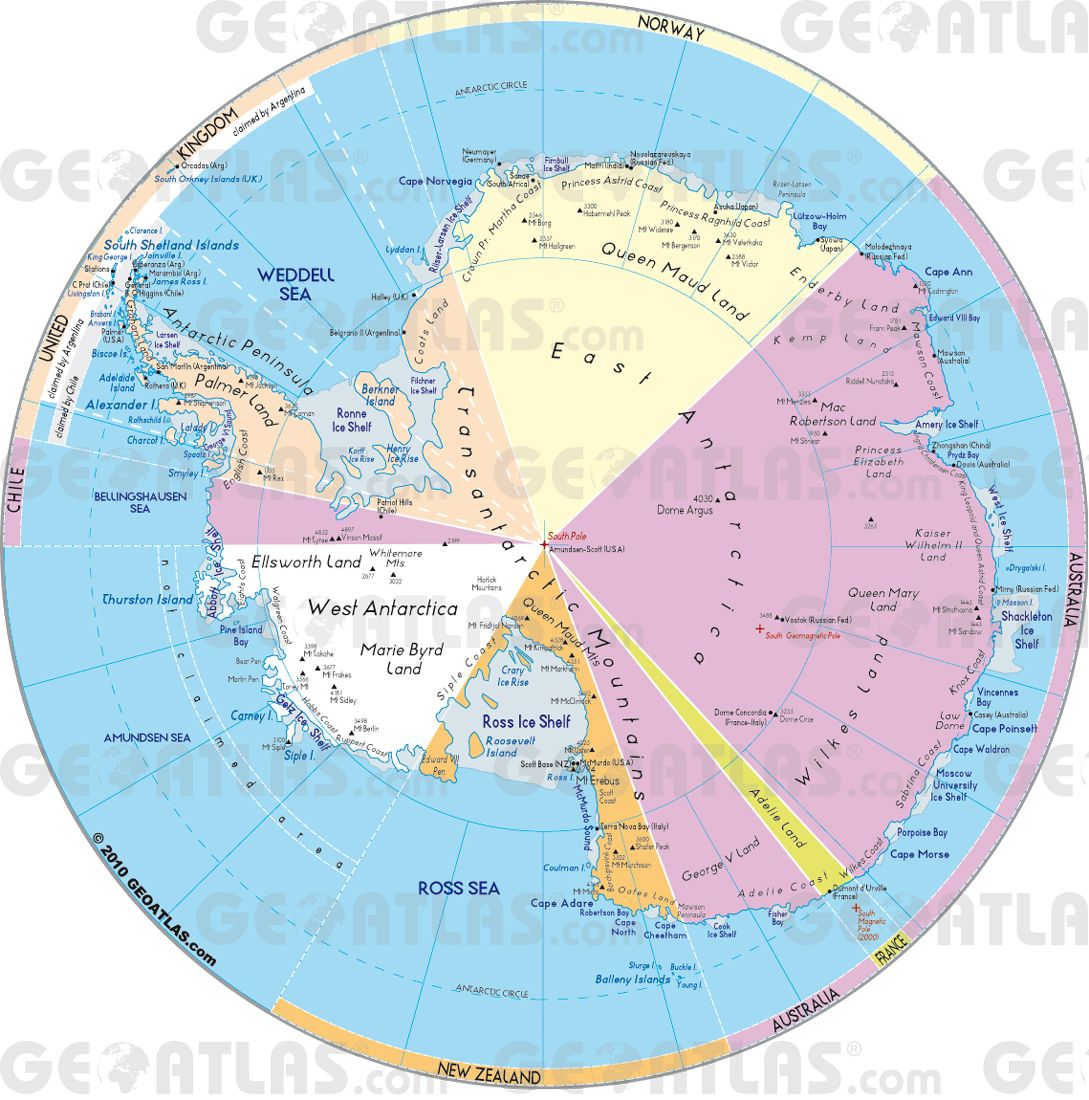 Antartica Geoatlas Continental Maps Antarctica Map City - Antarctica cities map