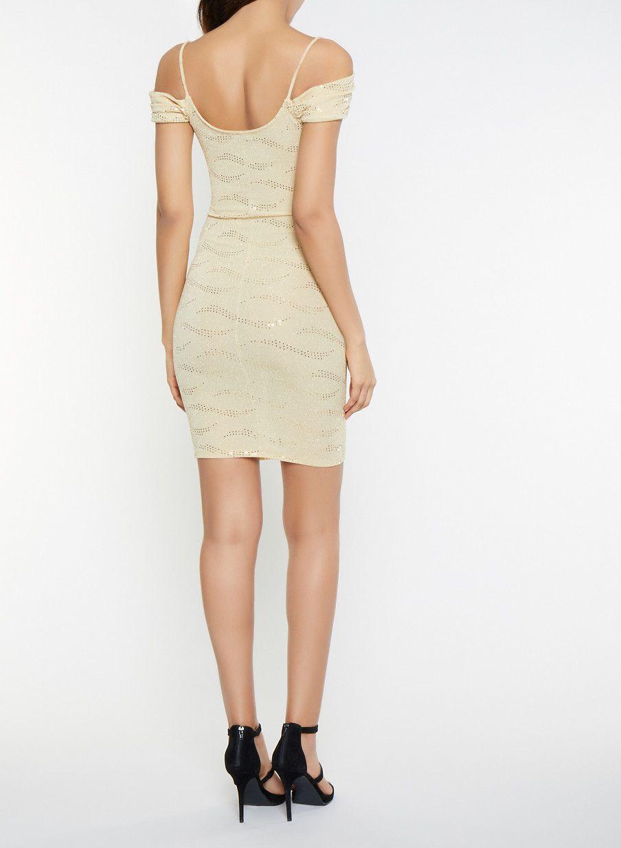 24881e64a4 Off the Shoulder Shimmer Knit Dress