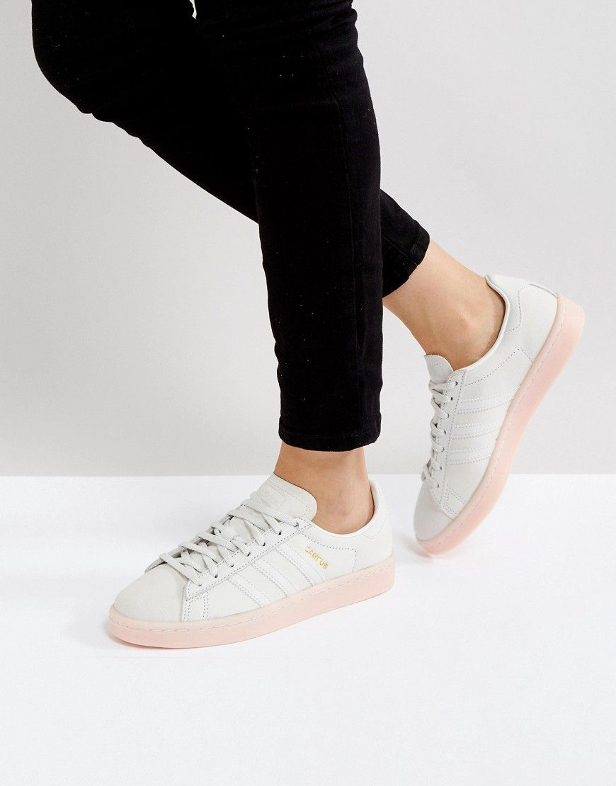 adidas Originals Campus Sneaker In Pale Gray With Pink Sole