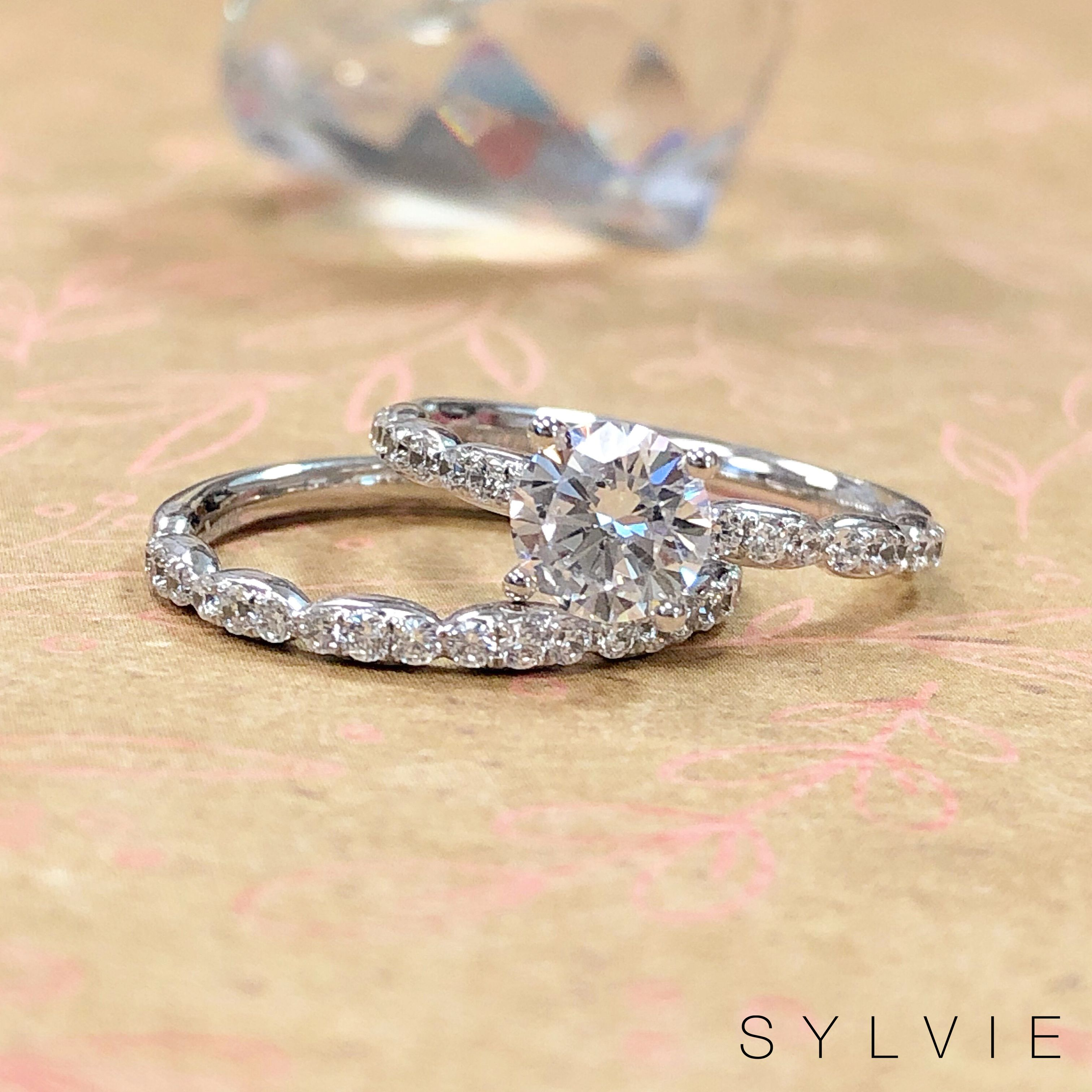 Solitaire Engagement Ring Wedding Set Wedding Bands Sylvie Collection S1797 Bs1797 Sylvie Engagement Rings Engagement Rings Wedding Ring Bands