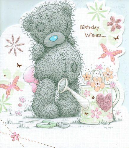 ME TO YOU HAPPY BIRTHDAY TATTY TEDDY BEAR HOLDING CAKE CARD