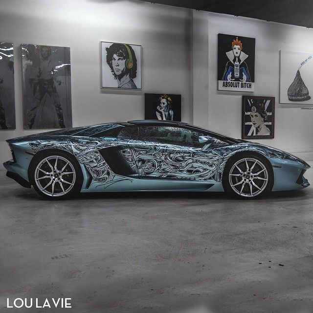 Tattooed Aventador • Follow @LouLaVie • • Art x Speed x Design • • Exotic Car Rental • • www.loulavie.com _______________________ • Photo by @loulavie •