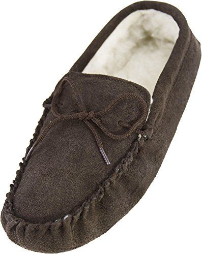 1f62cff8b8a Snugrugs Men s Suede Sheepskin Moccasin Slippers With Sof... https   smile