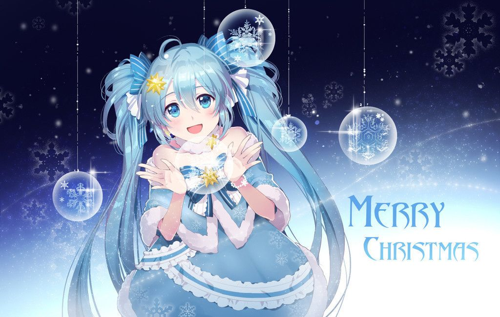 Hatsune miku, snowflakes, merry christmas wallpaper