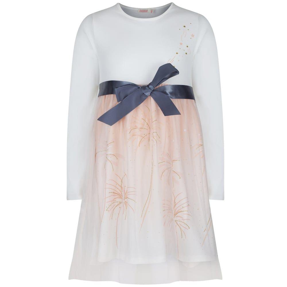 c32ac38ce111 Billieblush Girls Cream Long Sleeve Dress with Peach Mesh and Grey ...