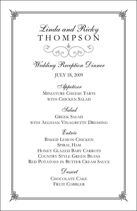 Wedding Menu Templates Perfect And Easy Menus For Your Big