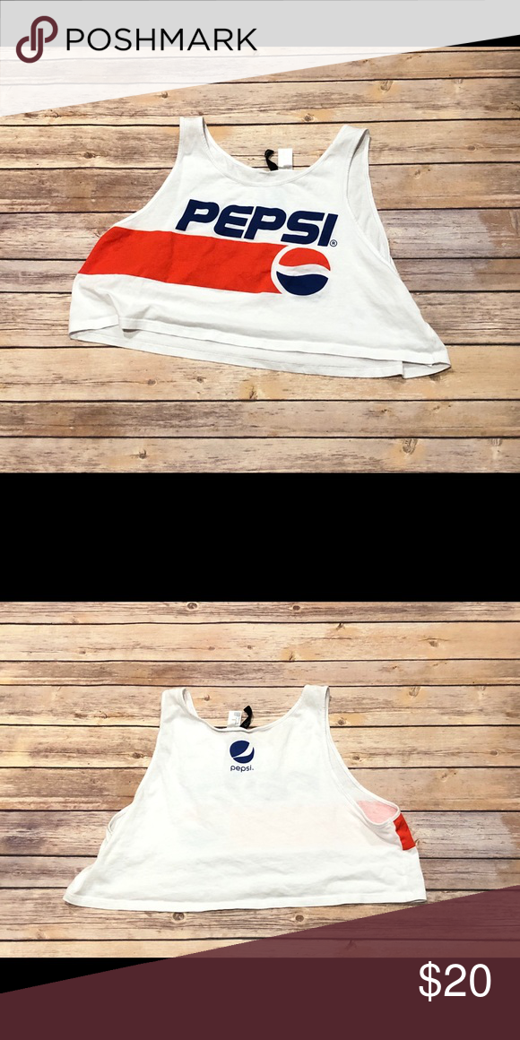 "ceea057c739c1 H M Pepsi Crop Top Tee Size Medium Worn once in excellent condition Pit to  pit 20"" H M Tops Crop Tops"