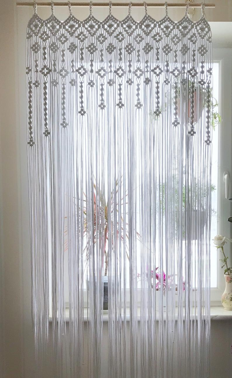 Macrame Window Curtain Macrame Door Curtain Wedding Backdrop White Cotton Woven Curtain Boho Window Decoration Macrame Room Divider Ohtheplacesillgo Macrame Door Curtain Door Curtains Macrame Decor